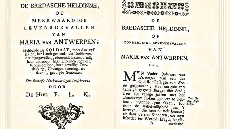 De Bredasche Heldinne, titelpagina's van de biografie van Maria van Antwerpen (1751)