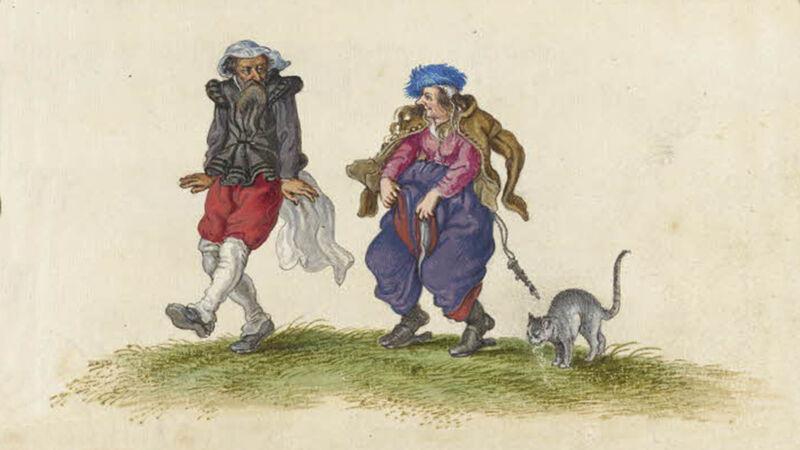 Adriaen Van de Venne: Dansend Koppel (ca. 1625), de man draagt een vrouwensluier, de vrouw een mannenvest