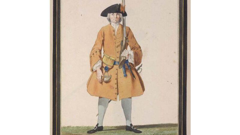 Hollandse soldaat (ca. 1750), wellicht droeg Maria/Machiel een gelijkaardig uniform