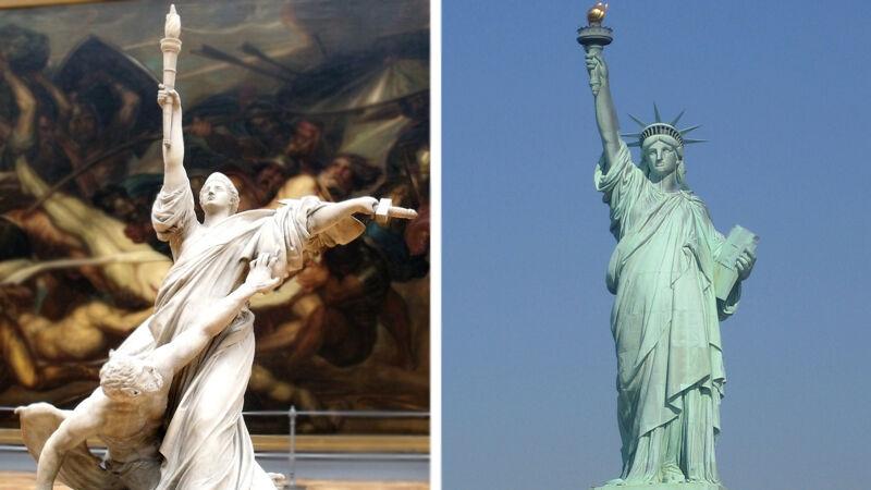 Antoine Wiertz: Triomf van het Licht, Wiertzmuseum Brussel (L) - Frédéric Auguste Bartholdi: Vrijheidsbeeld, New York (R)