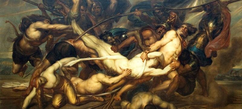 Antoine Wiertz: Grieken en Trojanen strijden om het lijk van Patrocles