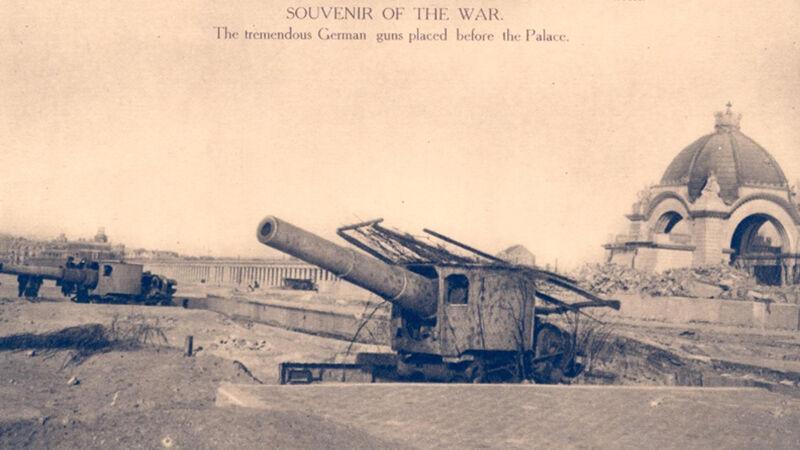 Achtergelaten Duitse kanonnen op de Oostende zeedijk