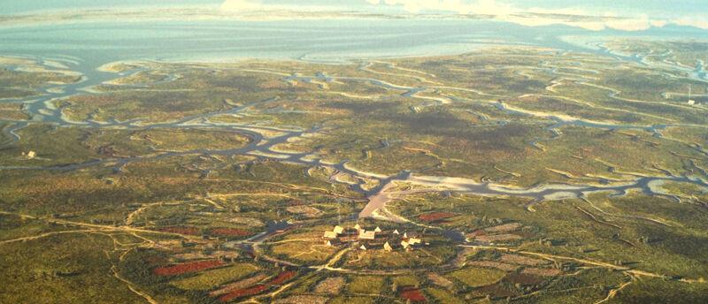 Het vroegmiddeleeuwse dorp Leffinge op de terp, in de achtergrond ligt Testerep