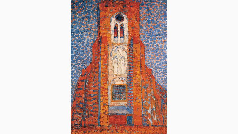 Piet Mondriaan: Zon, kerk in Zeeland, Zoutelande (1909)