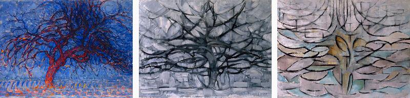 Drie versies van Mondriaans boom