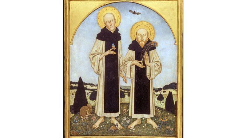 Edmund Dulac: Shannon & Ricketts as medieval saints (Ricketts met pauwenveer, een 'geheim' kenteken)