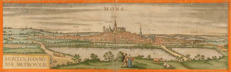Zicht op de stad Bergen (1572), gravure van Braun & Hogenberg