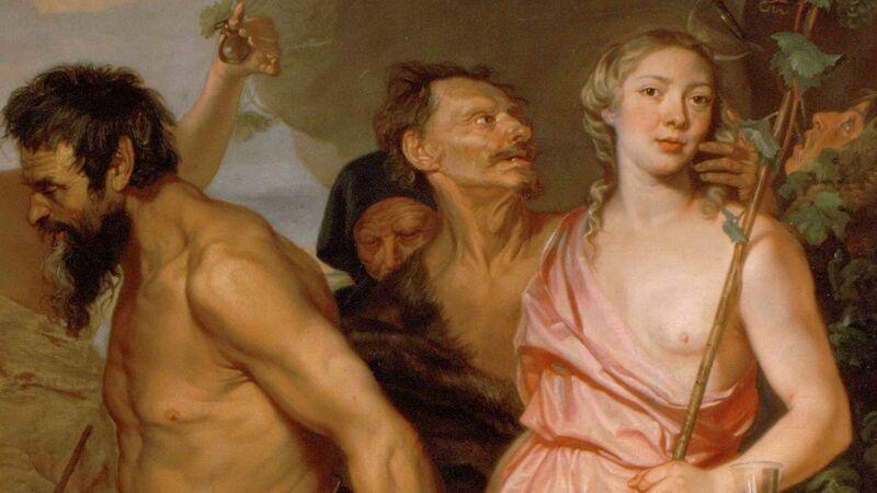 Michaelina Wautier: Zelfportret op Triomf van Bacchus (detail)