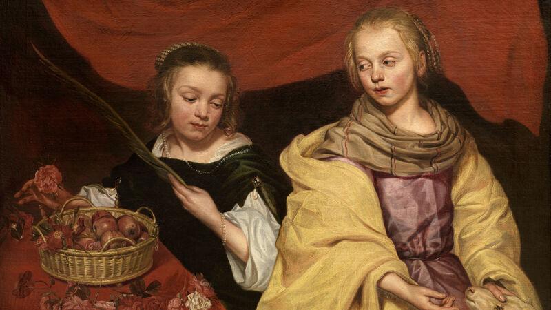 Michaelina Wautier: Twee meisjes als de heilige Agnes en Dorothea