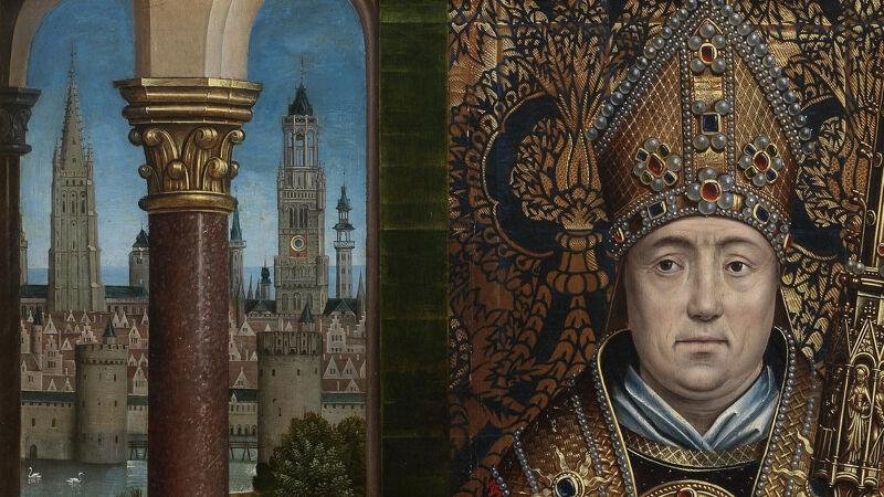 Meester van Lucialegende: detail uit Retabel van Sint-Nicolaas. De belforttoren (R) is intussen afgewerkt.