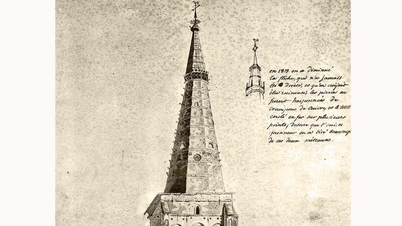 Oude prent van de toren ca. 1819, zonder hoektorentjes en balustrade