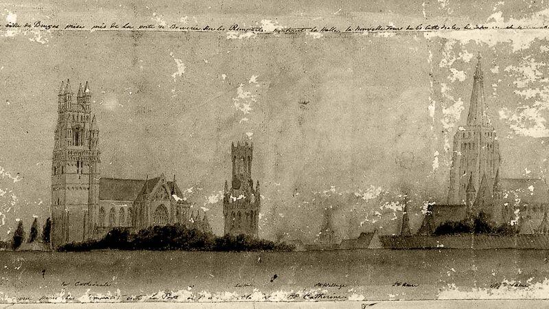 Oude tekening van de Brugse skyline, ca. 1847.  Sint-Salvator (L), het belfort en de Onze-Lieve-Vrouwetoren (R) zonder hoekpinakels.