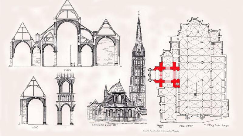 Architectuurprent uit 1857 met plattegrond en doorsnedes van de kerk. De toren is in 't rood aangeduid.