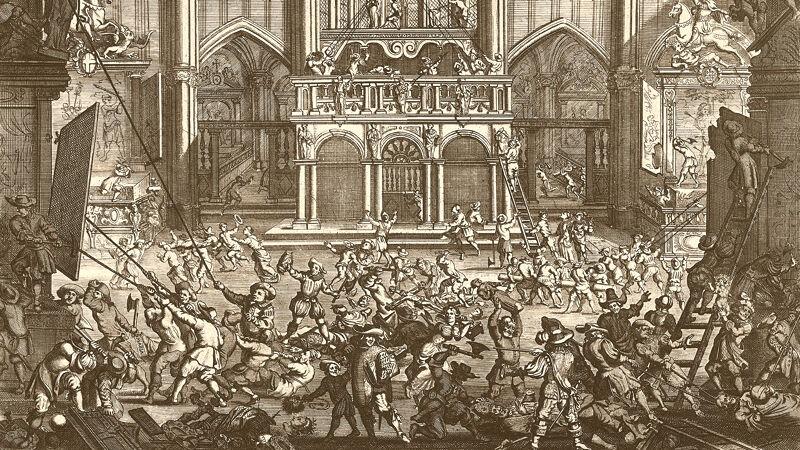 De beeldenstorm van 1566 in de kathedraal van Antwerpen. Bij deze gelegenheid verdween de relikwie van de Heilige Voorhuid