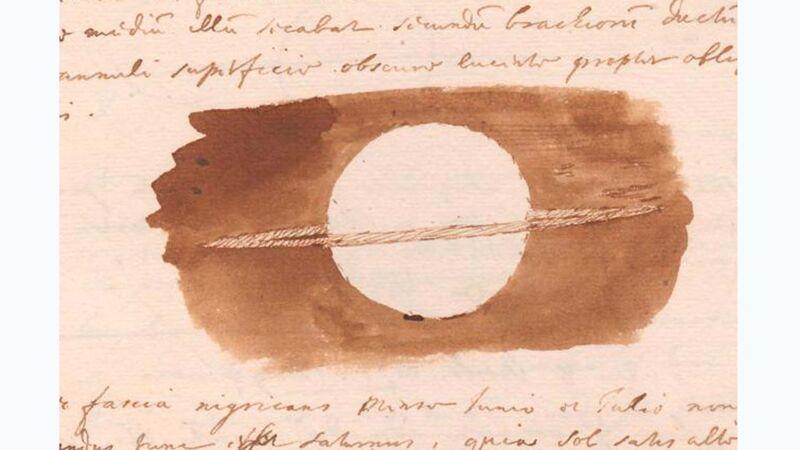 Schets van Christiaan Huygens, de ontdekker van de ring rond Saturnus, volgens Allatius de ten hemel opgestegen voorhuid van Christus