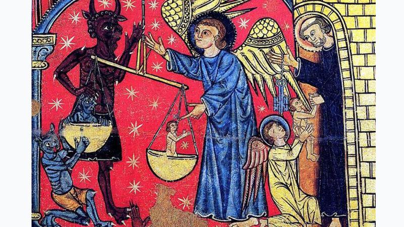 Voorstelling van het dualisme van goed en kwaad, het goddelijke versus de duivel