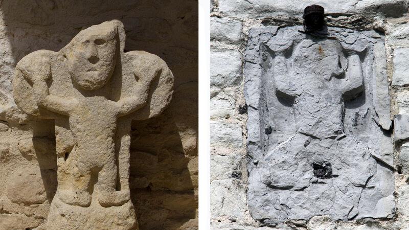 Kathaarse Christus van Les Cassés (L) - Semini-beeldje aan het Steen in Antwerpen (R)