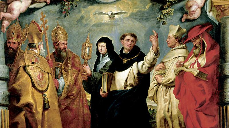 P.P. Rubens: De verdedigers van de eucharistie, theologen die in tegenstelling tot de katharen de aanwezigheid van Christus in de eucharistie verdedigen