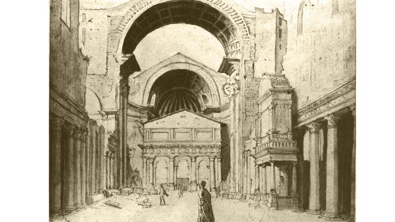 Maarten van Heemskerck: zicht op de bouwwerf van de Sint-Pietersbasiliek, ca. 1530