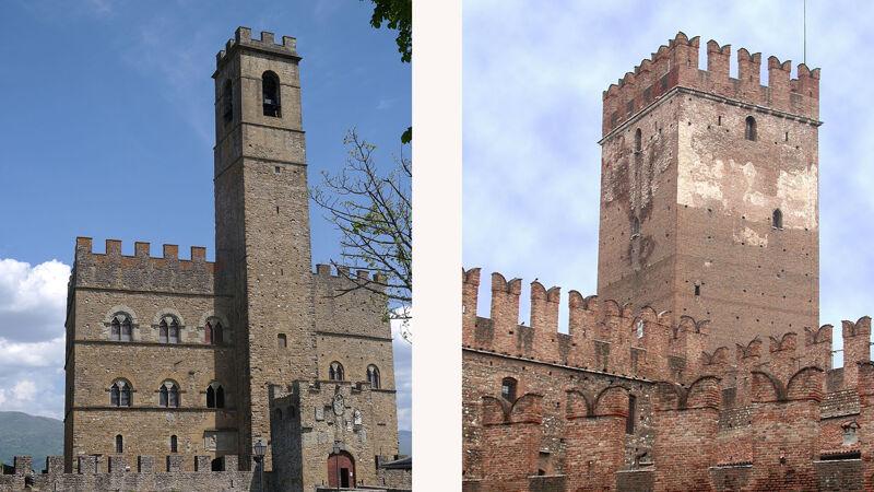 Castello van Poppi met Welfen-kantelen (L) en Castelvecchio van Verona met Ghibellijnse kantelen (R)