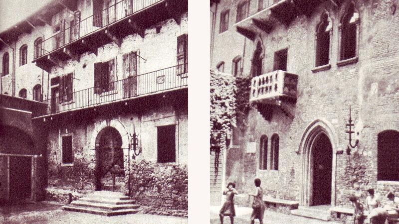 Het huis van Julia zonder balkon, eind 19de eeuw (L) en mét balkon na de verbouwingen van 1936 (R)