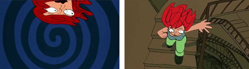 Het gebruik van spiralen in Lola Rennt verwijst naar 'Vertigo' van Alfred Hitchcock.