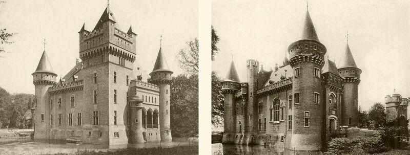 Oude postkaarten van het Zellaerkasteel. Vergelijk met de onderstaande Loirekastelen