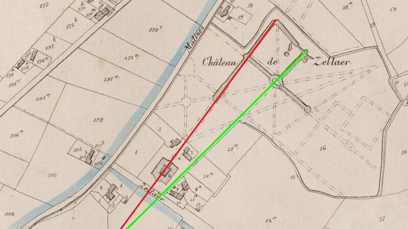 Zellaer op de zogenaamde Poppkaart (ca. 1858), met aanduiding van de twee assen. (Opgelet: deze kaart is niet naar het noorden gericht.)
