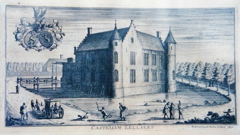 Het oude Castellum Zellaert, prent uit 1692