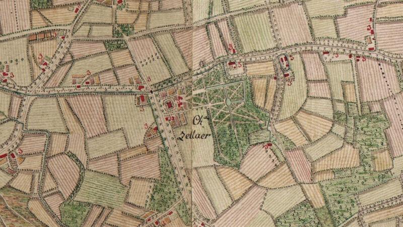 Château Zellaer op de Ferrariskaart van 1777. Let op het klassiek aangelegde parkdomein