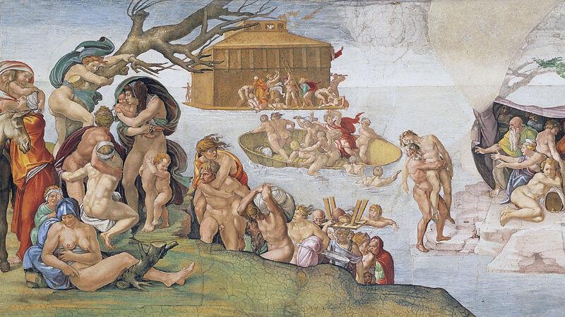 Michelangelo: De zondvloed, fresco in de Sixtijnse kapel