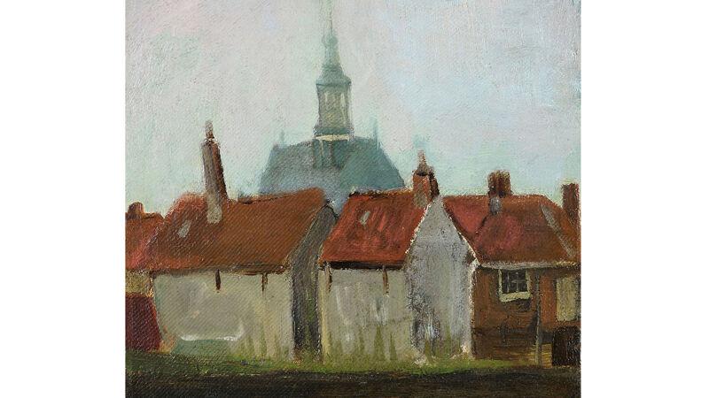 Vincent Van Gogh: Nieuwe kerk en oude huizen in Den Haag (1883)