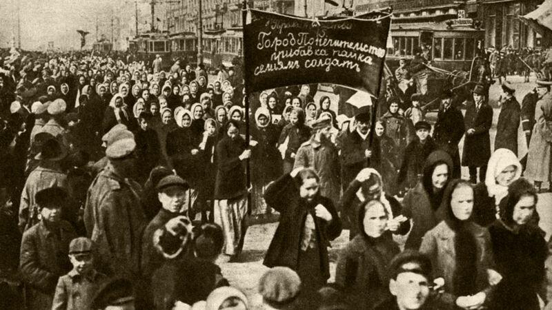 De grote vrouwendemonstratie van Sint-Petersburg op 8 maart 1917.