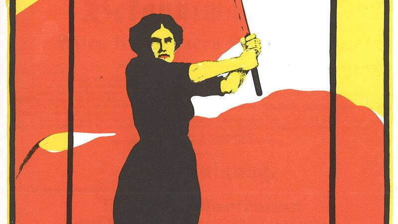 Duitse affiche voor Frauentag 1914, helemaal in de stijl van communistische posters.