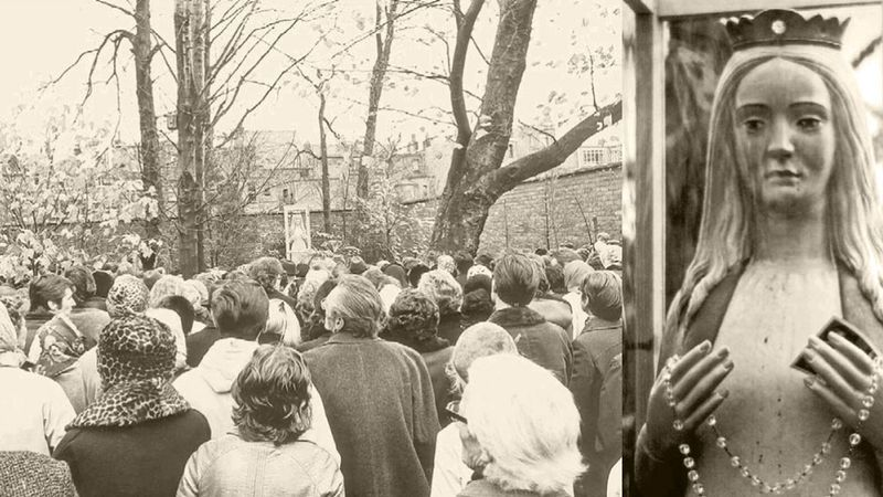 Volkstoeloop in 1973 bij het wenende Mariabeeld