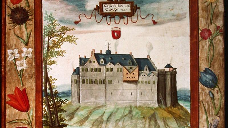 Het kasteel van Chimay anno 1598 (voorstelling op perkament)