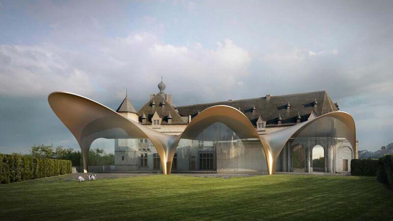 Ontwerp van Zaha Hadid voor een luifel aan de achterzijde van het kasteel van Chimay (2015, nooit uitgevoerd)