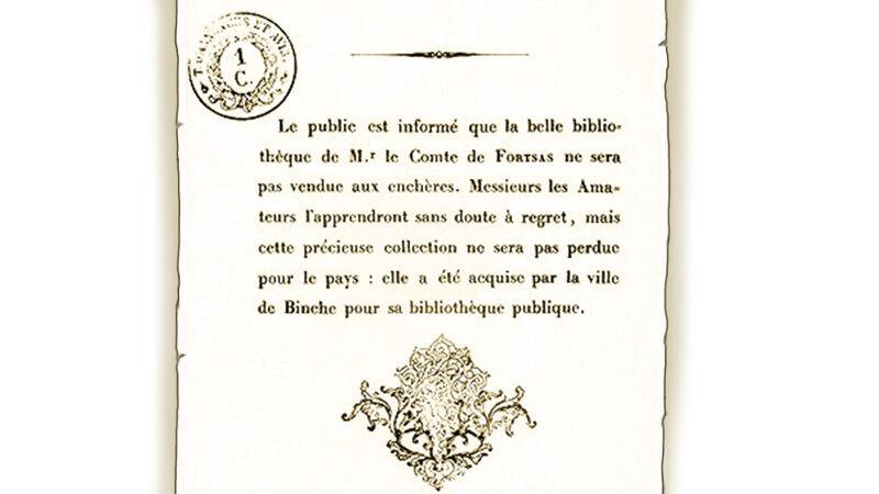 Aanplakbiljet over de afgelasting van de Fortsas-veiling, 1840