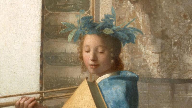 Johannes Vermeer: Allegorie van de schilderkunst, detail (ca. 1666)