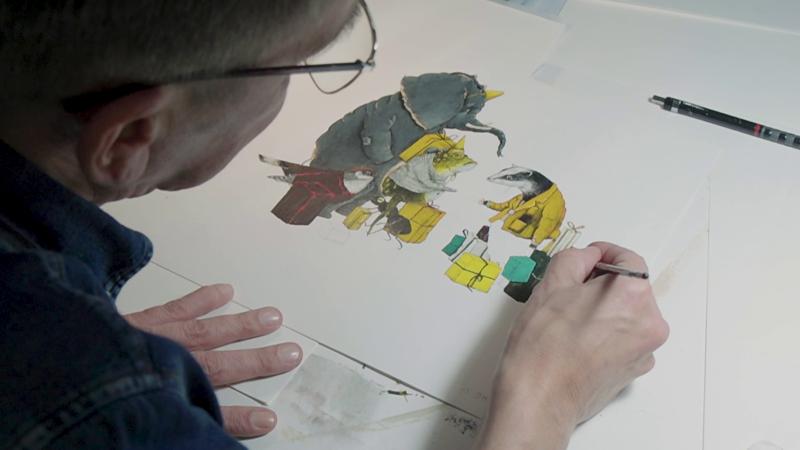 Carll Cneut werkt aan een illustratie voor zijn boek met Toon Tellegen.
