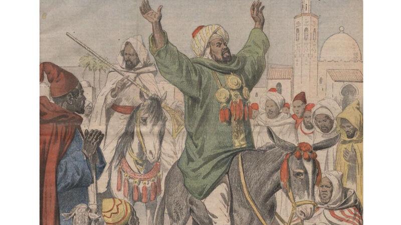 Bou Hamara, gezeten op zijn ezelin