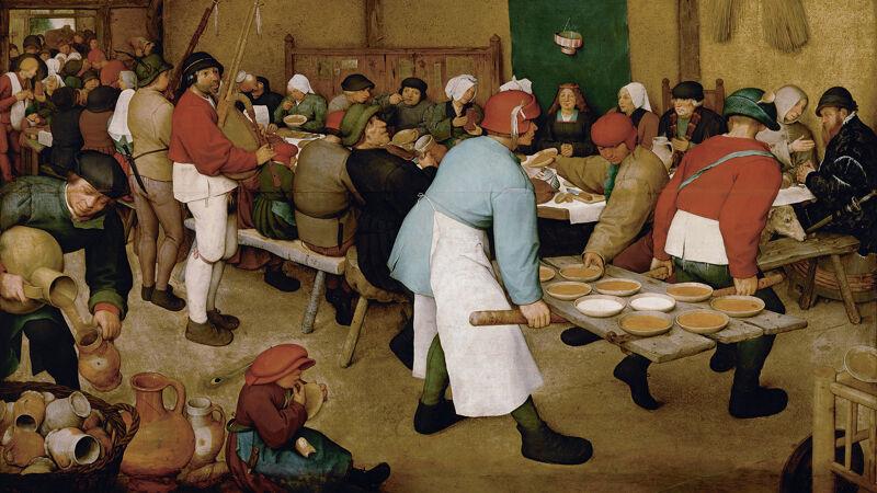 De boerenbruiloft. Let op de in 't zwart geklede figuur met baard uiterst rechts, vaak aanzien als een zelfportret van Bruegel