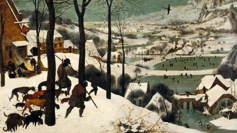 Jagers in de sneeuw (december-januari)