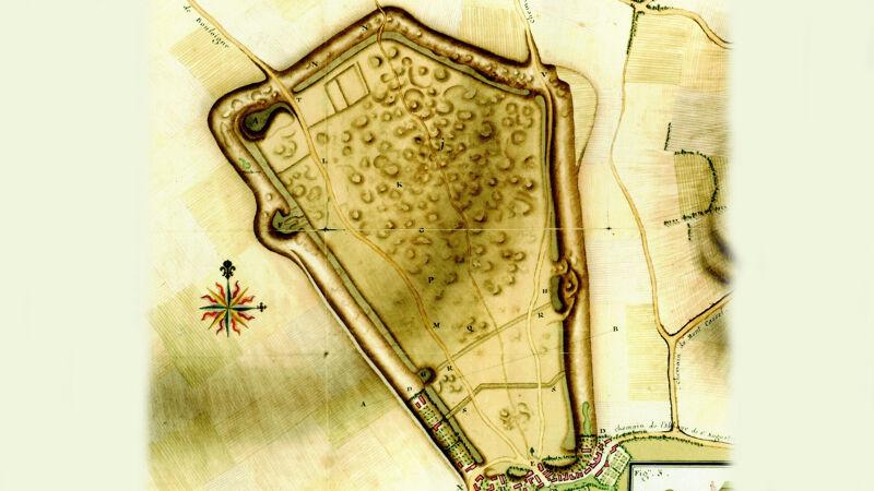 Plan van Thérouanne, 1730. Van de stad resten alleen de omtrekken van de omwalling en wat vage ruïneheuvels