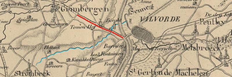 Kaart uit 1831. De Tangebeek (blauw) loopt onder de verhoogde berm van de steenweg Grimbergen-Vilvoorde (rood) via Borgt naar de Zenne