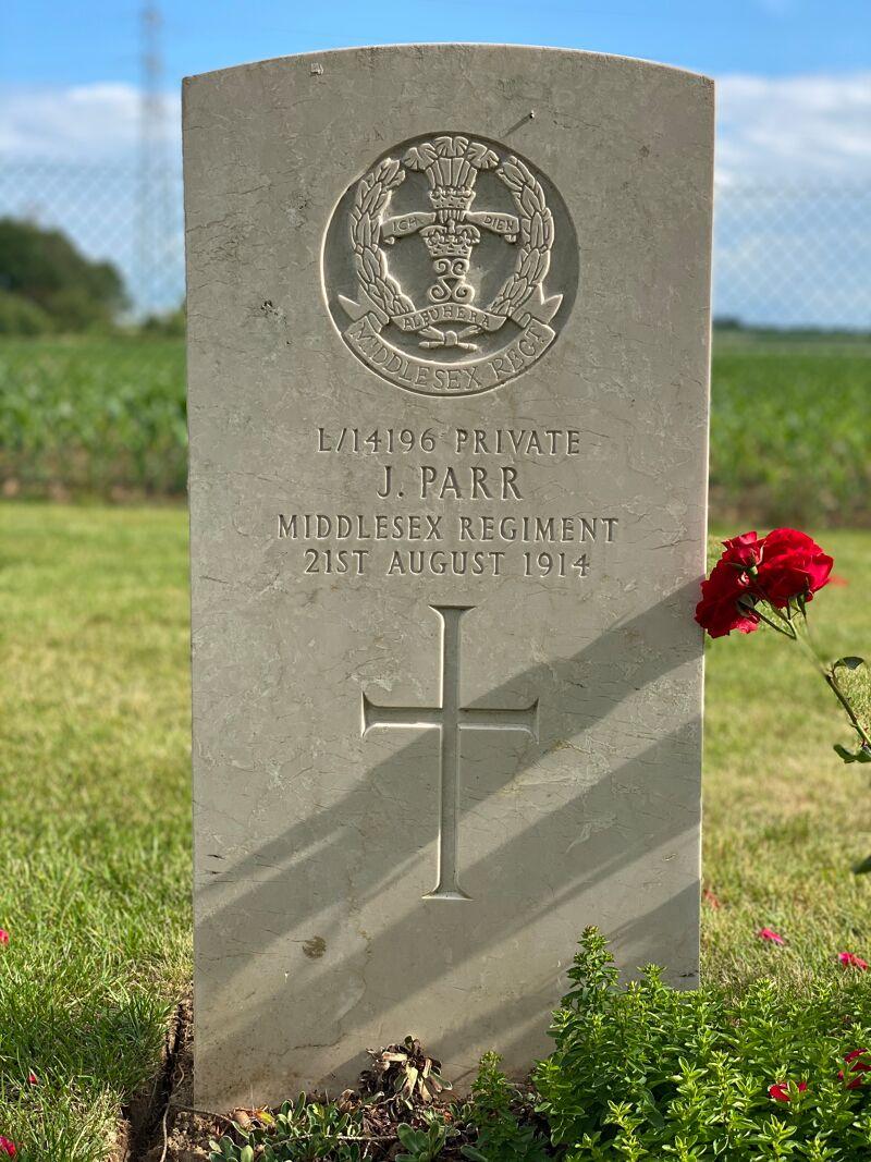 De eerste gesneuvelde Britse soldaat van WO I.