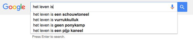 Volgens Google kan het heel wat kanten op, het leven.