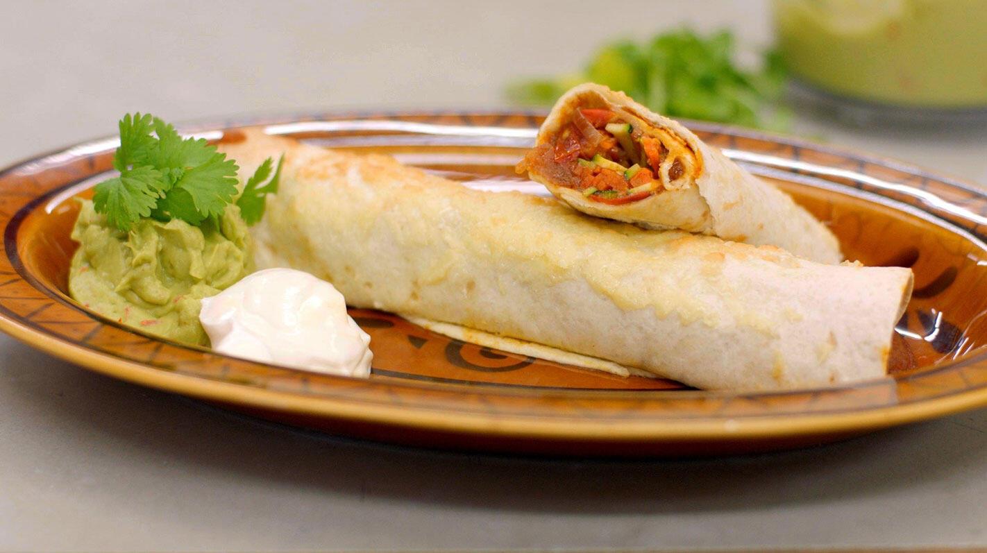 Veggie enchilada's met guacamole