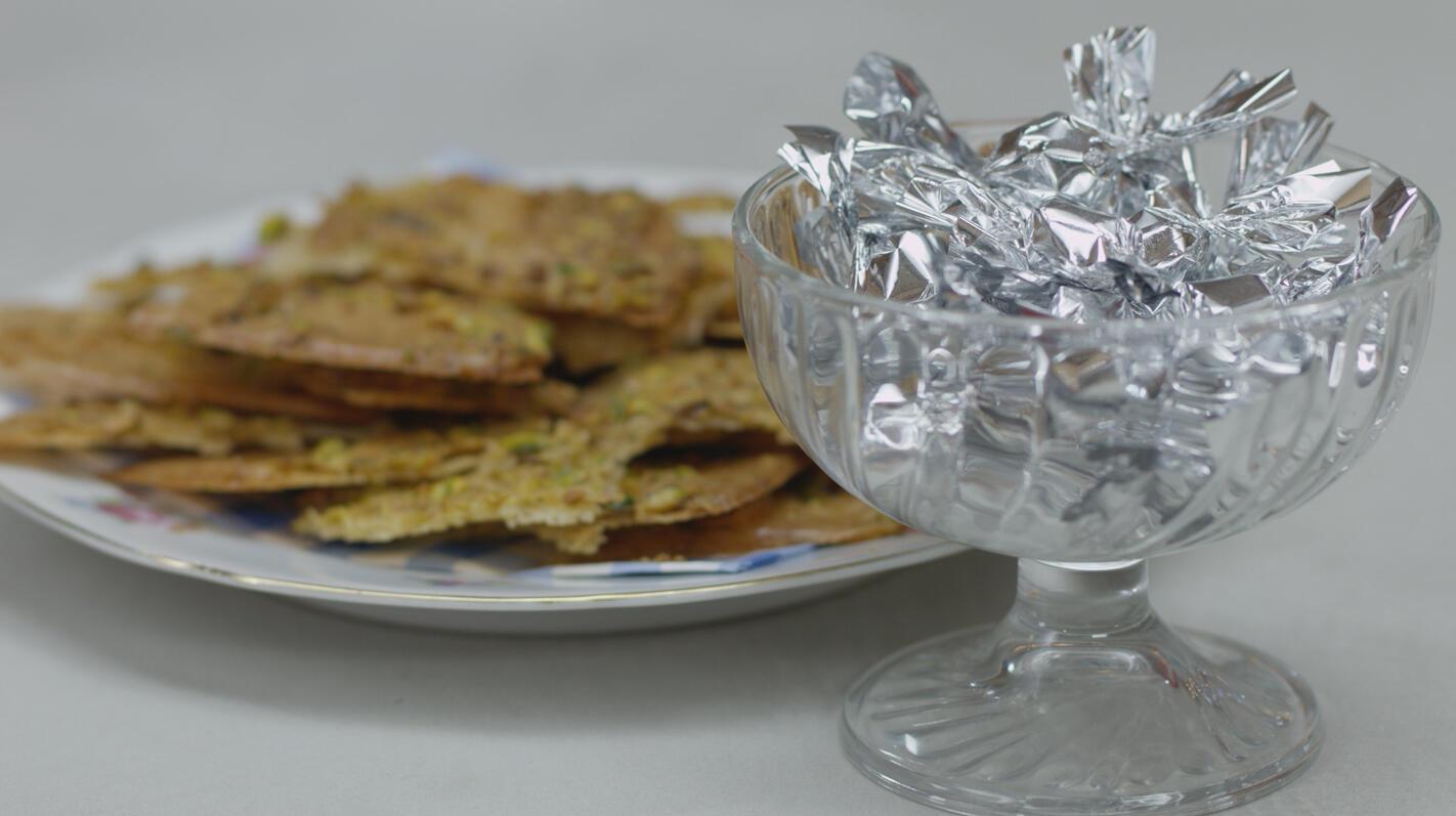 Karamelsnoepjes en pistachekoekjes