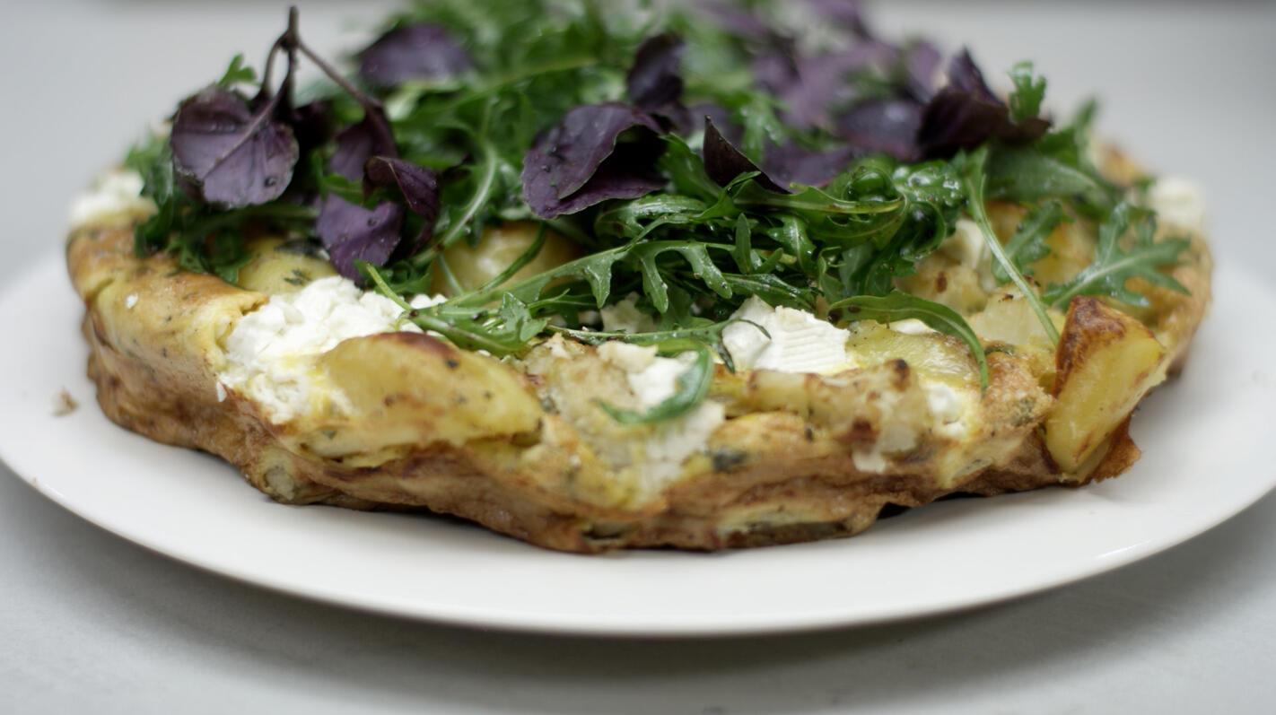 Frittata met bloemkool, spinazie en feta